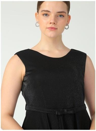 Selen Selen Siyah Simli Elbise Siyah